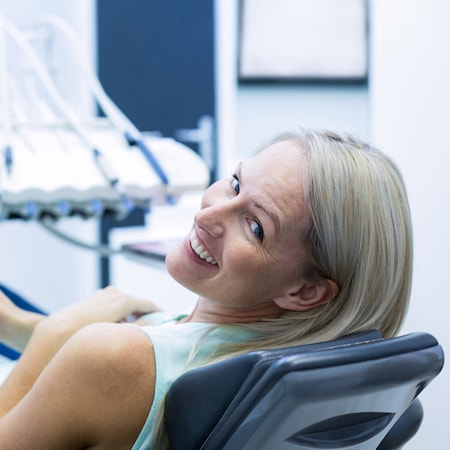 A women getting ready to get a root canal